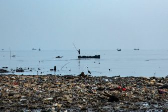 JAKARTA, INDONESIA - MAY 31:   A Heron and a man fish near the coast which has been inundated with plastic trash on the northern coast on May 31, 2018 in Jakarta, Indonesia. Indonesia has been ranked the second biggest marine polluter in the world behind only China with reports showing that the country produces 187.2 million tonnes of plastic waste each year. Like many developing countries Indonesia lacks the infrastructure to effectively manage their waste and the problem has become so severe that the nation's army has been called in to help clean-up when its rivers and canals were clogged with dense masses of bottles, bags and other plastic packaging. According to studies there could be more plastic in the sea than fish by 2050, while actual plastic particles might be in our seafood as fish consume bits of plastic which are coated in bacteria and algae, mimicking their natural food sources. (Photo by Ed Wray/Getty Images)