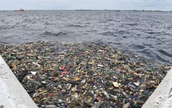 Plastic bottles and other waste float in the water near the port of Abidjan on August 5, 2015 despite efforts by the government to promote a greener economy by banning plastic bags. AFP PHOTO / ISSOUF SANOGO / AFP PHOTO / Issouf SANOGO        (Photo credit should read ISSOUF SANOGO/AFP via Getty Images)