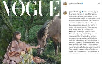 Post su Instagram di Greta sulla copertina di Vogue