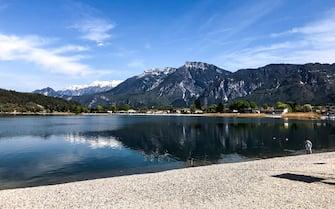 View of Lake Caldonazzo, Trentino Alto Adige , Italy, on 19 April 2019. (Photo by Mairo Cinquetti/NurPhoto via Getty Images)