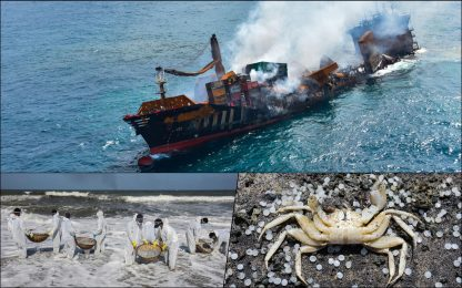 Sri Lanka, nave cargo affondata: si teme disastro ambientale. FOTO