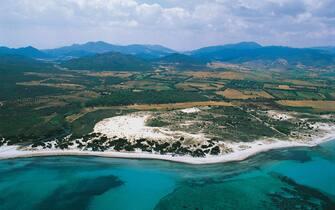 Aerial view of coastline near Posada, Sardinia, Italy.