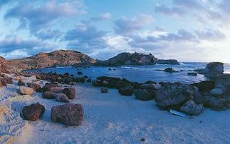 UNSPECIFIED - CIRCA 2004:  Italy - Sardinia Region - Bosa (Province of Oristano) - Torre Argentina beach.  (Photo By DEA / D. M. ROSSI/De Agostini via Getty Images)