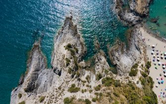 A drone view of the cost in Ascea Marina, a resort close to Cilento, Italy, on August 23, 2020. (Photo by Paolo Manzo/NurPhoto via Getty Images)