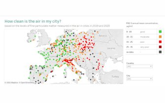 La mappa dell'Aea delle città europee con l'aria peggiore