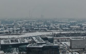 KRAKOW, POLAND - FEBRUARY 09: An aerial view Krakow's Power station sitting in smog on February 09, 2021 in Krakow, Poland. Severe weather swept through northern and central Europe in recent days, bringing snow, flooding and freezing temperatures. (Photo by Omar Marques/Getty Images)