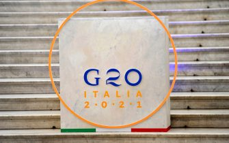 G20 sign in Naples, Italy, on July 23, 2021. The G20 is held from July 22-23, 2021. (photo by Vincenzo Izzo/Sipa USA)