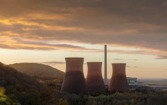 These are the cooling towers at Ironbridge in Shropshire.   This is a few days before they were demolished.  Aptly shot in twilight as they were indee