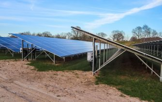 Generating clean energy with solar modules in a big park in germany