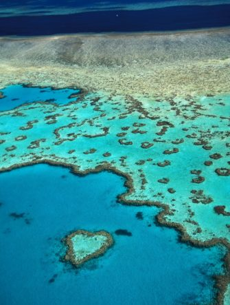 UNDATED - QUEENSLAND, AUSTRALIA: (FRANCE OUT) Aerial view of the aptly named Heart Reef, a heart-shaped coral reef in the Coral Sea, in the Great Barrier Reef, Whitsunday Islands off the coast of Queensland, Australia. (Photo by Emmanuel VALENTIN/Gamma-Rapho via Getty Images)