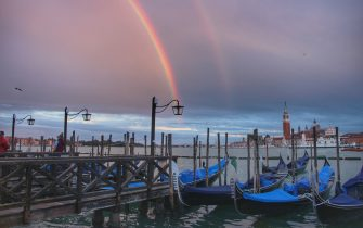 Rainbow on the Lagoon during Venice, from sunset to night, Reportage in venice, Italy, October 03 2020