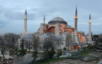 ISTANBUL, TURKEY - OCTOBER 14 : Hagia Sophia in Istanbul. Hagia Sophia is a former Greek Orthodox patriarchal basilica (church), later an imperial mosque, and now a museum in Istanbul on October 14, 2014 in Istanbul, Turkey. (Photo by Frédéric Soltan/Corbis via Getty Images)