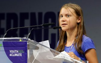 Swedish environmental activist  Greta Thunberg attends to the conference  Youth4climate: driving ambition Italy 2021 . Milan  28 Settembre 2021. ANSA / MATTEO BAZZI