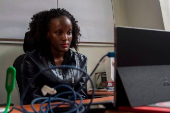 Vanessa Nakate, a climate change activist from Uganda, speaks through a webcam during a joint press conference with other activists from the #FridaysForFuture movement, in Kampala on January 31, 2020. (Photo by ISAAC KASAMANI / AFP) (Photo by ISAAC KASAMANI/AFP via Getty Images)
