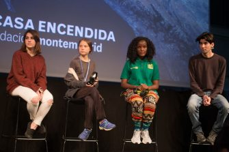 MADRID, SPAIN - 2019/12/06: From left to right, Shari Crepi (Fridays for Future Spain), Greta Thunberg (Fridays for Future Sweden), Vanessa Nakate (Fridays for Future Uganda) and Alejandro Martinez (Fridays for Future International Spain) attend a press conference. Press conference of the Swedish activist of Fridays for Future, climate change, Greta Thunberg after participating in the COP25 in Madrid before the climate change protest. (Photo by Lito Lizana/SOPA Images/LightRocket via Getty Images)