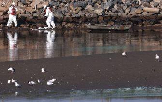 HUNTINGTON BEACH, CALIFORNIA - OCTOBER 03: Cleanup workers attempt to contain oil which seeped into Talbert Marsh, home to around 90 bird species, after a 126,000-gallon oil spill from an offshore oil platform on October 3, 2021 in Huntington Beach, California. The spill forced the closure of the popular Great Pacific Airshow with authorities urging people to avoid beaches in the vicinity.  (Photo by Mario Tama/Getty Images)
