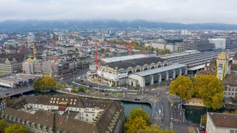 ZURICH, SWITZERLAND - OCTOBER 17: In this aerial view the central station of Zurich stands during the coronavirus pandemic on October 17, 2020 in Zurich, Switzerland. Switzerland, along with most countries across Europe, is seeing a surge in coronavirus infections. (Photo by Christian Ender/Getty Images)