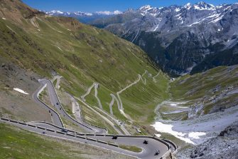 ITALY - JULY 12:  Cars on The Stelvio Pass, Passo dello Stelvio, Stilfser Joch, on the route to Bormio, in the Eastern Alps in Northern Italy (Photo by Tim Graham/Getty Images)