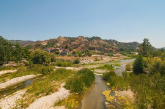 CROTONE, ITALY - AUGUST 03:  The Neto river of the National park of Sila is quite empty due to the drought that hits the area on August 03, 2017 in Crotone, Italy. An intense heatwave is sweeping across many regions of Italy, prompting local councils to issue a number of high level alerts. The province of Crotone has suffered much damage due to the fires over the last few weeks.  (Photo by Simone Padovani/Awakening/Getty Images)