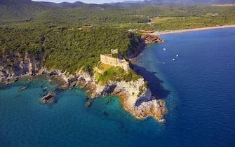 File image of aerial view of the coast of Roccamare in Castiglione della Pescaia, near Grosseto, tuscany region in central Italy, on 03 May 2018. ANSA/ FABIO MUZZI
