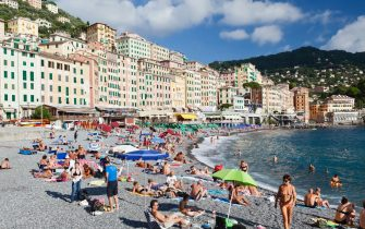 View across the beach at Camogli. (Photo by: Loop Images/Universal Images Group via Getty Images)