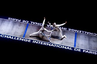 PARIS, FRANCE - JANUARY 12: Daniele Garozzo (L) of Italy play against Nick Itkin (R) of USA in Men's Foil Team Final game during Challenge International De Paris on January 12, 2020 in Stade Pierre-de-Coubertin, Paris, France. (Photo by Lampson Yip - Clicks Images/Getty Images)