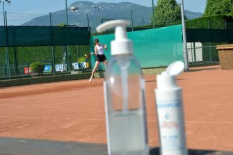 TRENTO, ITALY - MAY 09: A person plays tennis at a reopened tennis club on May 09, 2020 in Trento, Italy. Italy was the first country to impose a nationwide lockdown to stem the transmission of the coronavirus (Covid-19), and its restaurants, theaters and many other businesses remain closed. (Photo by Alessio Coser/Getty Images)