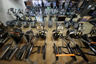 WEST ISLIP, NEW YORK - MAY 13:  The Weight Room remains empty at Gold's Gym Islip on May 13, 2020 in West Islip, New York.  The gym has been closed since New York Governor Andrew Cuomo had the gyms closed due to the coronavirus COVID-19 pandemic.  (Photo by Al Bello/Getty Images)