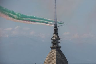 TURIN, ITALY - MAY 25: The Italian national aerobatic team, the Frecce Tricolore, flies near of the Mole Antonelliana of Turin on May 25, 2020 in Turin, Italy. The Italian Air Force aerobatic display team's jets over the whole Peninsula. (Photo by Stefano Guidi/Getty Images)
