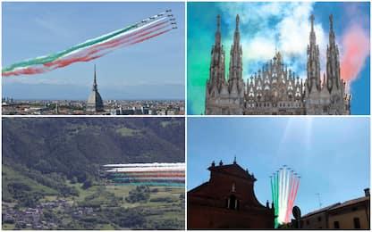 Da Torino ad Aosta, il volo delle Frecce Tricolori sull'Italia. FOTO
