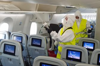 Sanificazione a bordo di un aereo all'aeroporto di Roma- Fiumicino, 26 maggio 2020. ANSA/TELENEWS
