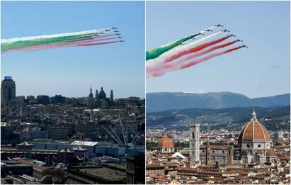 Frecce Tricolori, oggi il passaggio su Genova e Firenze. FOTO
