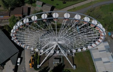 An aerial view shows a ferris wheel at the closed amusement parc Fort Fun Abenteuerland in Bestwig, western Germany, on May 6, 2020, amid the spread of the novel coronavirus COVID-19. - The Fort Fun Abenteuerland is a seasonal amusement park near Bestwig-Wasserfall in the Sauerland with about 40 attractions and two shows. (Photo by Ina FASSBENDER / AFP) (Photo by INA FASSBENDER/AFP via Getty Images)