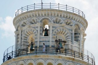 Tourist group visiting the top of the leaning tower after it closed due the health emergency period due to contain spread of Coronavirus, Pisa, Italy, 30 May 2020(ANSA foto Fabio Muzzi)
