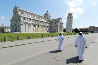 Nuns walk on Miracle square after than leaning tower reopen after to get closed due the health emergency period due to contain spread of Covid-19, Pisa, Italy, 30 May 2020(ANSA foto Fabio Muzzi)