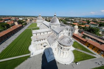 View of Cathedral and Miracle square of Pisa from the top of the leaning tower after it closed due the health emergency period due to contain spread of Coronavirus, Pisa, Italy, 30 May 2020(ANSA foto Fabio Muzzi)