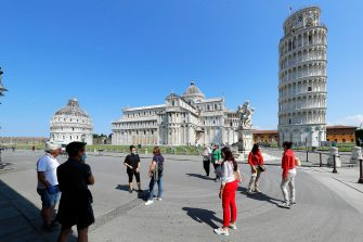 View of the leaning tower, cathedral and baptisphere of Pisa to get closed due the health emergency period due to contain spread of Covid-19, Pisa, Italy, 30 May 2020(ANSA foto Fabio Muzzi)
