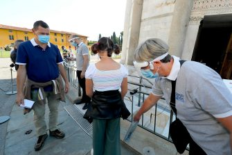 Security control at tourist prior enter and visiting the leaning tower after it closed due the health emergency period due to contain spread of Coronavirus, Pisa, Italy, 30 May 2020(ANSA foto Fabio Muzzi)