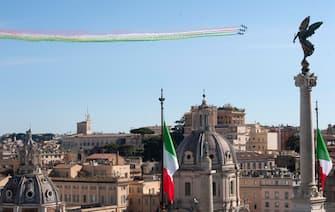 "Italian Air Forces aerobatic demonstration team, the ""Frecce Tricolori"", as they fly duringe the Italy's Republic Day (Festa della Repubblica) in Rome, Italy, 02 June 2020. The anniversary marks the founding of the Italian Republic in 1946.? ANSA/CLAUDIO PERI"
