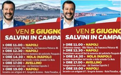Lega, volantino con l'Etna al posto del Vesuvio. Salvini: è un falso