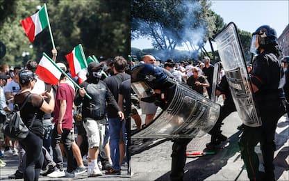 Forza Nuova e ultrà al Circo Massimo, tensioni a Roma. FOTO