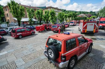 Firefighters in San Mauro Torinese, near Turin, northern Italy, where bad weather caused damages, 09 June 2020. The heavy rains caused a ridge of the nearby mountain to collapse, which then fell into the Sant'Anna stream causing flooding. ANSA/TINO ROMANO