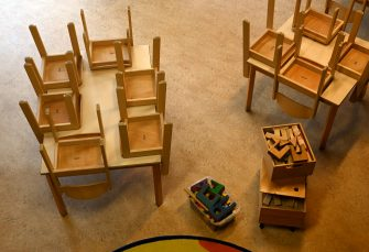 Chairs are placed on tables in a closed kindergarten in Eichenau, southern Germany, on March 26, 2020, as public life in Bavaria has been limited to combat the coronavirus pandemic. (Photo by Christof STACHE / AFP) (Photo by CHRISTOF STACHE/AFP via Getty Images)