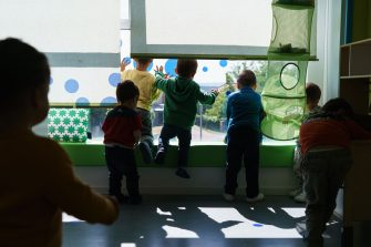 Children play at the Palotes preschool in Valladolid, on June 10, 2020. - The Palotes preschool is one of the first schools to open in the Castilla y Leon region as the country continues to loosen a national lockdown to stop the spread of the novel coronavirus. (Photo by CESAR MANSO / AFP) (Photo by CESAR MANSO/AFP via Getty Images)
