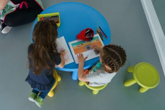 Children draw at the Palotes preschool in Valladolid, on June 10, 2020. - The Palotes preschool is one of the first schools to open in the Castilla y Leon region as the country continues to loosen a national lockdown to stop the spread of the novel coronavirus. (Photo by CESAR MANSO / AFP) (Photo by CESAR MANSO/AFP via Getty Images)