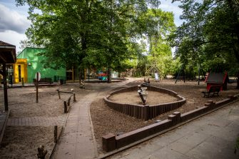 BERLIN, GERMANY - JUNE 10: An empty playground in a closed Kindergarten is pictured during the novel coronavirus crisis on June 10, 2020 in Berlin, Germany. Berlin is reopening Kindergartens starting June 22, back to the normal timetables for all children, as parents are already offered half day care. Most restrictions on public life that had been imposed by authorities in March to stem the spread of the virus have lifted. The outlook for an economic recovery remains, however, uncertain, as many businesses report sluggish sales volume. (Photo by Maja Hitij/Getty Images)