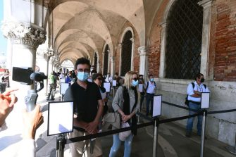 VENICE, ITALY - JUNE 13: Visitors attends the reopening of the Venice's Civic Museums at Palazzo Ducale on June 13, 2020 in Venice, Italy. (Photo by Roberto Serra - Iguana Press/Getty Images