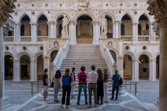 VENICE, ITALY - JUNE 13: Tourists visit the Doge's Palace, which reopened today on June 13, 2020 in Venice, Italy. The whole country is returning to normality after more than two months of a nationwide lockdown meant to curb the spread of Covid-19. (Photo by Stefano Mazzola/Awakening/Getty Images)