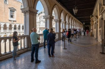 VENICE, ITALY - JUNE 13: Tourists are waiting to enter the Doge's Palace, which reopened today on June 13, 2020 in Venice, Italy. The whole country is returning to normality after more than two months of a nationwide lockdown meant to curb the spread of Covid-19. (Photo by Stefano Mazzola/Awakening/Getty Images)