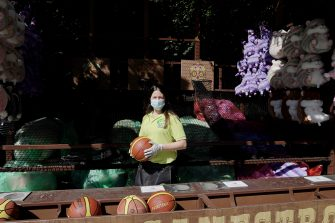 CASTELNUOVO DEL GARDA, ITALY - JUNE 13: A member of the staff poses at the Gardaland Amusement Theme Park opening on June 13, 2020 in Castelnuovo del Garda, Italy. Gardaland Amusement Theme Park is the first one to reopen in Italy after the ease of the lockdown imposed for the Covid-19 pandemic. (Photo by Vittorio Zunino Celotto/Getty Images)
